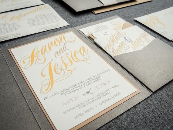 Yellow Grey Wedding Invitations: Yellow And Grey Invitations Modern Wedding Invitations