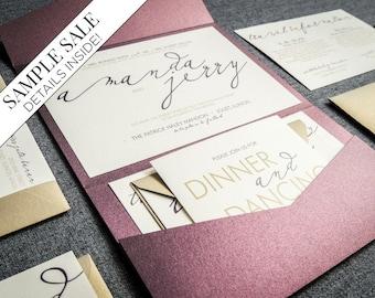 "Modern Calligraphy Wedding Invitations, Purple Wedding Invitation, Eggplant and Gold Pocket Invite - ""Modern Calligraphy"" PF-NL-v1 SAMPLE"