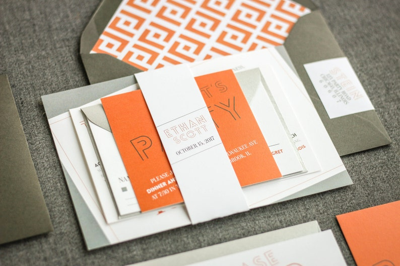 Orange And Grey Invitation Bar Mitzvah Invitations Modern Birthday Invite Party Affordable