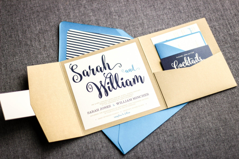 Navy Blue And Gold Wedding Invitations: Navy Blue And Gold Wedding Invitations Nautical Beach
