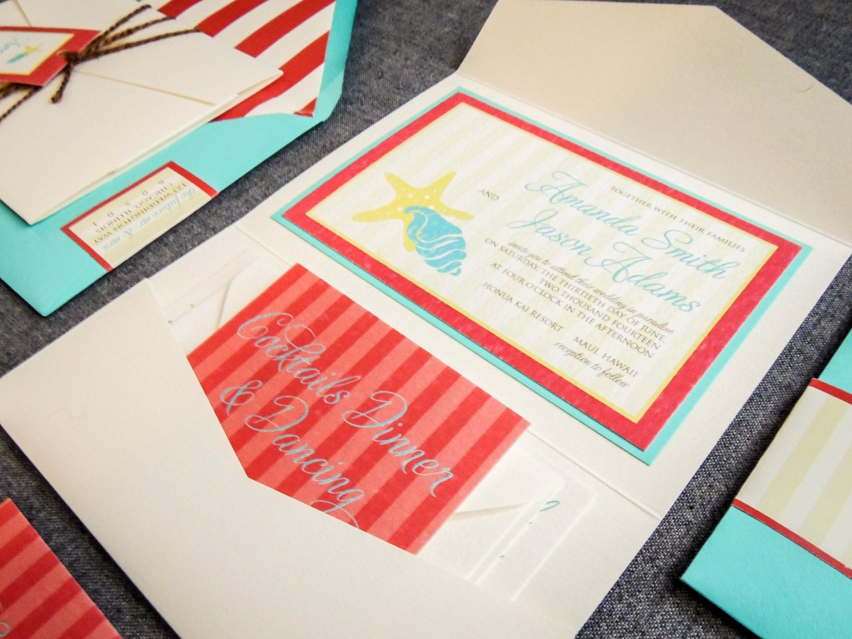 Aqua and Red Wedding Invitations Beach Wedding Invites | Etsy