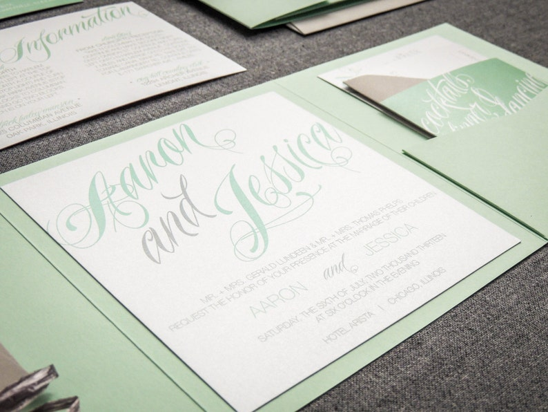 Mint Green Wedding Invitations Green And Grey Invitations Etsy