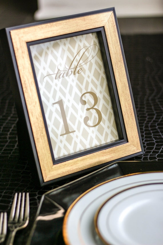 Gold Table Numbers Reception Signage Elegant Wedding Table Decor Diamond Wedding Party Decorations Classic Elegance Table Numbers