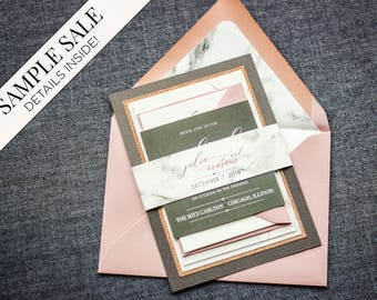"Rose Gold and Grey Wedding, Blush and Grey Invitation, Rose Gold Glitter Invitations, Marble Invitations - ""Modern Elegance"" FP-2L SAMPLE"