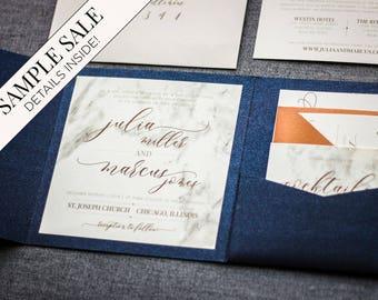 Custom Invitation, Wedding Invitations, Navy Blue Wedding, Modern Marble Blue and Copper Set with Name Tag - Modern Elegance PF-NL SAMPLE