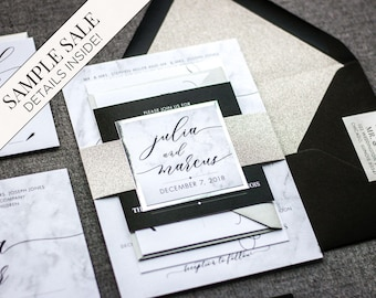 Silver Wedding Invitations, Black and White Marble Invitation with Glitter and Foil Calligraphy Monogram Tag - Modern Elegance FP-NL SAMPLE