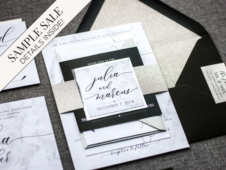 Silver Wedding Invitations Black and White Marble Invitation