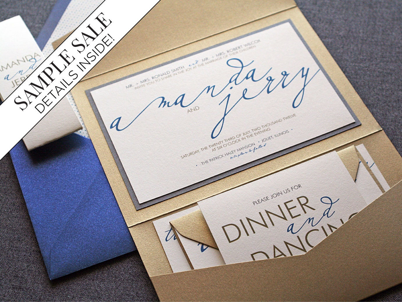 Cost Of Calligraphy For Wedding Invitations: Calligraphy Wedding Invitation Set Modern Invites Navy Blue