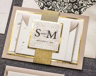 "Champagne Wedding Invitations, Gold Foil Invitation, Elegant Invites for Formal Event, Glitter Party Set - ""Classic Romance"" FP-2L-v1 SAMPLE"
