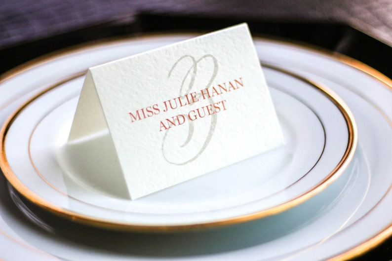 Coral and Gold Event Placecards Modern Henna Tented Placecard v3 Chic Modern Folded Placecards DEPOSIT Special Event Seating Cards