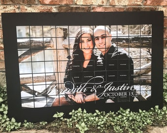 """Engagement Photo Board, Wedding Seating Chart, Engagement Party Photo Ideas, Photo Place Card Display - 24"""" x 36"""" Place Card Board - DEPOSIT"""