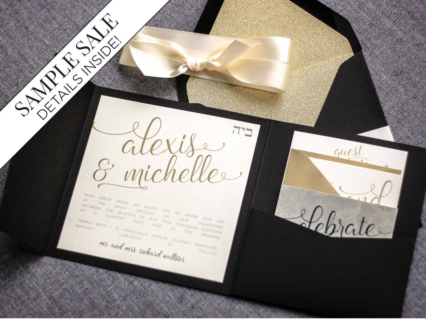 Black and Gold Wedding Invitations New Years Eve Modern