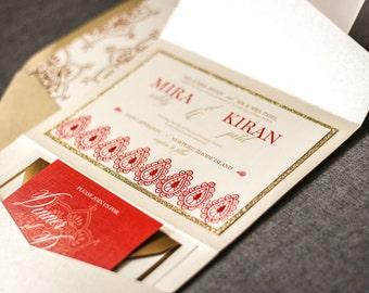 "Indian Wedding Invitations, Henna Wedding Invitations, Red and Gold Invitations, Modern Wedding Cards, Shaadi - ""Modern Henna"" PF-1L SAMPLE"