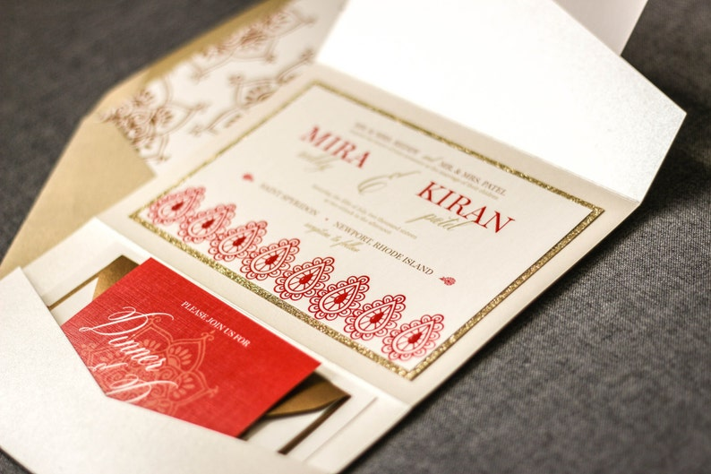 Indian Wedding Invitations Henna Red And Gold Modern Cards Shaadi