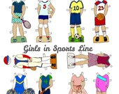 Girls In Sports Paper Doll Outfits Clothes - PDF - Instant Download Printable Clip Art, Soccer Tennis Volleyball Ice Skating Swim Basketball