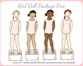 Girl Printable Paper Doll Package - Dolls Only - Instant Download PDF Clip Art Paper Doll Mate