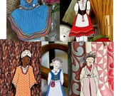 Around the World Outfits - Paper Doll Outfits Clothes- Instant Download Clip Art Mexico, Russia, Italy, India, Korea, Sweden, America, Spain