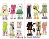 2011 Paper Doll Outfit Clothes of the Month Outfits - PDF - Instant Download Clip Art Paperdoll Printable Printing Paper Doll Holiday