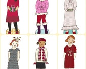 Winter Paper Doll Outfit Clothing Line - PDF- Instant Download Christmas Paper Doll Clip Art Printing Printable