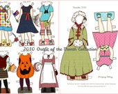 2010 Paper Doll Outfits Clothes of the Month - PDF - Instant Download Pilgrim, Pumpkin Halloween, Happy Birthday Outfit