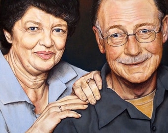 Custom Couple Portrait - Two Person Painting - By Toronto Portrait Artist Malinda Prud'homme