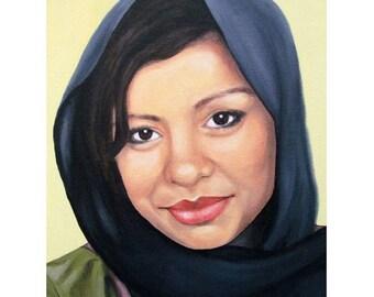 Cultured Beauty - Portrait Artist - ART PRINT - 8 x 10 - By Mixed Media Artist Malinda Prudhomme