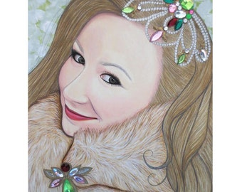 Bejeweled Beauties - Imogen - Mixed Media Artwork - By Toronto Portrait Artist Malinda Prud'homme