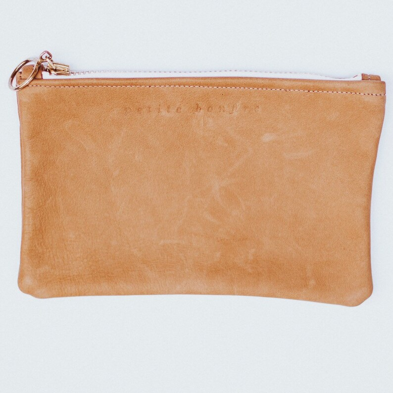 Camel brown leather pouch image 0