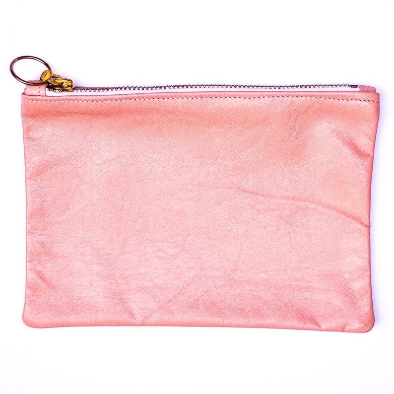 Ballet pink leather pouch image 0