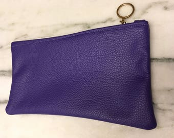 Small purple leather pouch