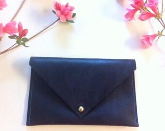 navy envelope leather wallet
