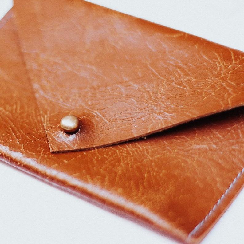 Italian cracked brown leather envelope wallet image 0