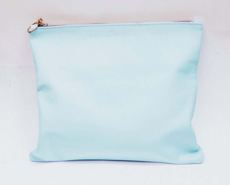 Baby blue leather foldover leather clutch image 0