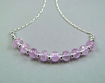 Kunzite Sterling Silver Necklace - N961