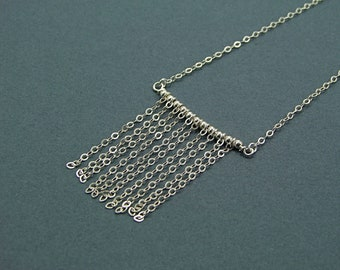 Sterling Silver Chain Curtain Necklace - N498