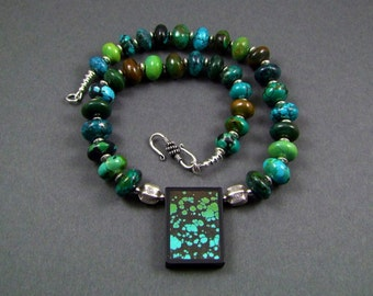 Turquoise Dragonskin Intarsia Stunning OOAK Statement Necklace - N437