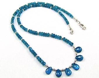Exquisite Neon Blue Apatite Necklace - N750
