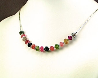 Carved Multicolor Tourmaline Sterling Silver Necklace - N971