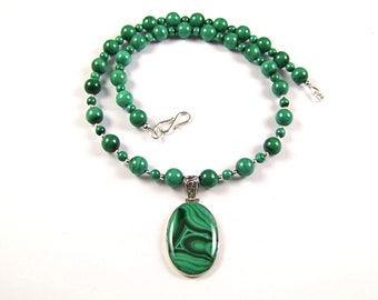 Gorgeous Malachite Sterling Silver Necklace - N957