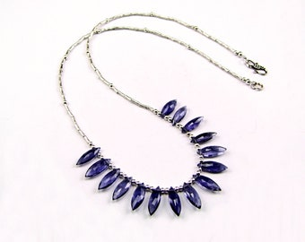 Iolite Faceted Marquise Sterling Silver Necklace - N955