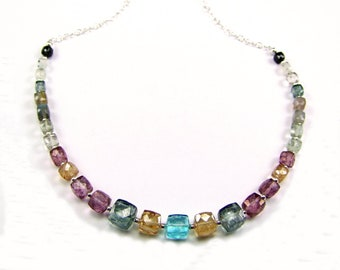 Mixed Gemstone Cubes Sterling Silver Necklace - N937