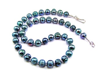 Peacock Blue Freshwater Pearl Sterling Silver Necklace - N939