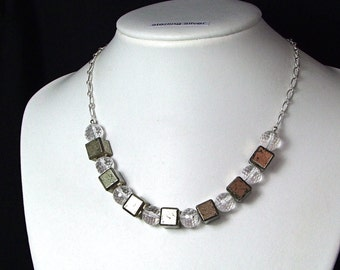 Pyrite & Rock Crystal Sterling Silver Necklace - N509A