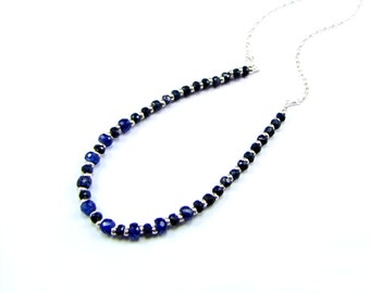 Natural Blue Sapphire Sterling Silver Necklace - N947