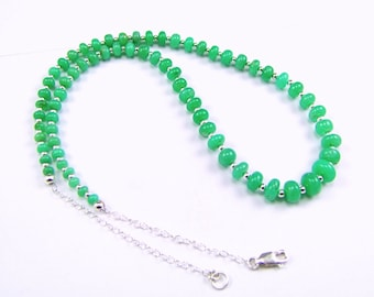 Chrysoprase Rondelle Sterling Silver Necklace - N954