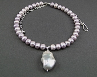 Huge Baroque Freshwater Pearl Sterling Silver Necklace N968