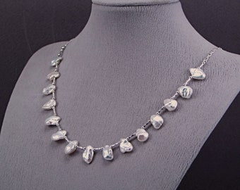 Keishi (Keshi) White Petal Pearl Sterling Silver Necklace - N965