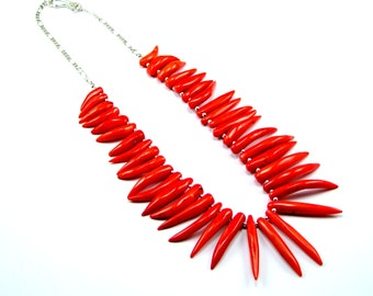 Salmon Coral Chillies Sterling Silver Necklace  - N880