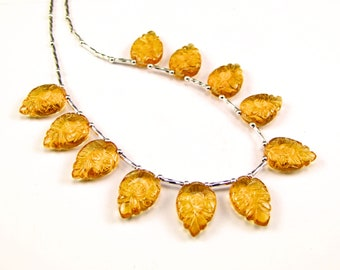 Citrine Carved Leaf Sterling Silver Necklace - N960