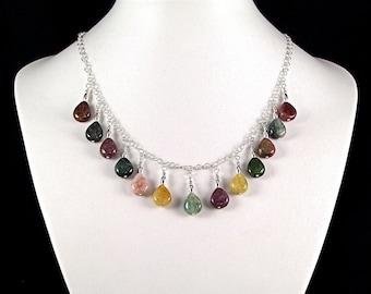 Stunning Tourmaline Teardrop Sterling Silver Necklace - N477